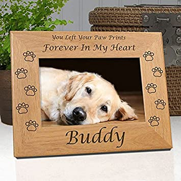 Dog Memorial Frame - Custom Personalized with Dog\'s Name - Quality Wood  Frame Holds 4x6 Photo - Choice of 9 Different Quotes - Free Personalized ...