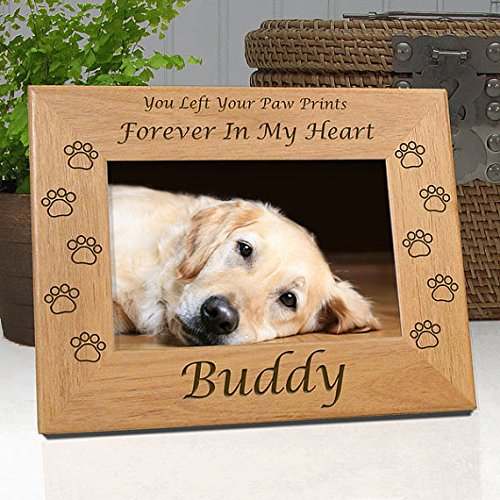 Dog Memorial Frame - Custom Personalized with Dog's Name - Quality Wood Frame Holds 4x6 Photo - Choice of 9 Different Quotes - Free Personalized Sympathy Card & Gift ()