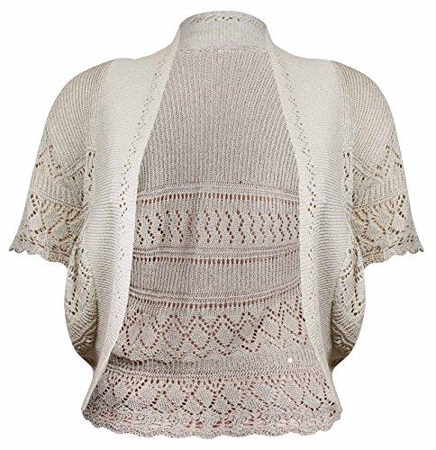 PurpleHanger Women's Knitted Crochet Open Cardigan Bolero Shrug Light Brown 14-16