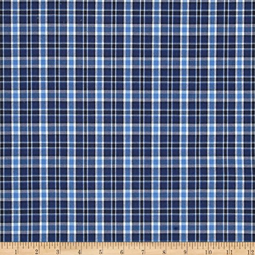 Carr Textile Poly/Cotton Uniform Plaid Navy/Blue/Black/White Poplin Fabric By The Yard