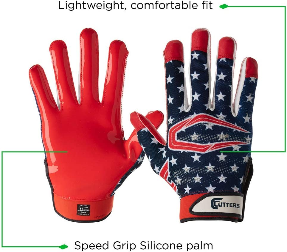 Youth /& Adult Sizes 1 Pair Cutters Game Day Football Glove Ultra Sticky Grip Receiver Gloves