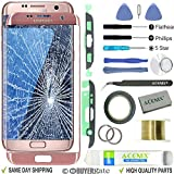 ACENIX Replacement Screen Front Outer Glass Lens Repair Kit for Samsung Galaxy S7 Edge Pink Gold + 2mm Tape and Opening Pry Tools