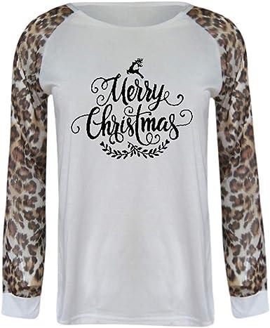 Camiseta Manga Larga Mujer Camisa Basica Blusa con Cuello Redondo Casual Shirt Elegante Lady Tops De Leopardo para Navidad Moda Gran TamañO: Amazon.es: Ropa y accesorios