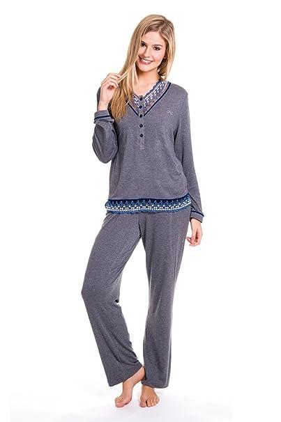 Pijama Largo Viscosa con Puntilla