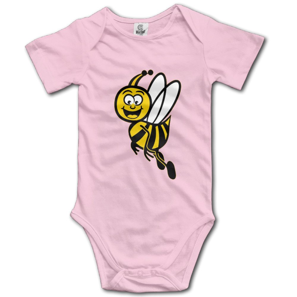 Motivational Cartoon To Bee Strong Cute Baby Tightly Casual Short-sleeved Climbing ClothesPink