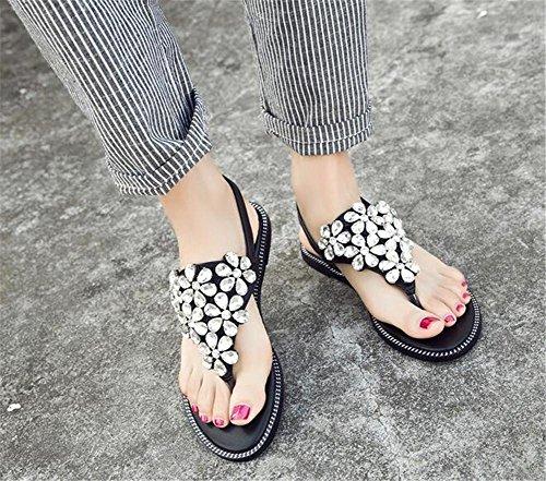 YEEY Abrir el dedo del pie talón plano ronda peep plantform sandalias para las mujeres verano playa poste sandalias chancletas zapatos blank
