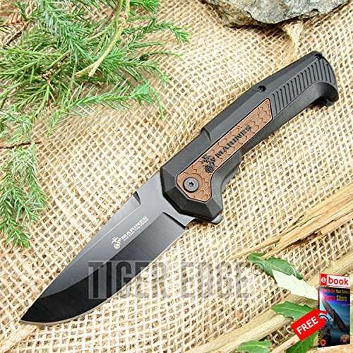 SPRING ASSISTED FOLDING POCKET KNIFE Mtech USMC Marines Black Tan Tactical EDC razor sharp + FREE eBOOK by MOON - Tactical Pocket Tan Knife
