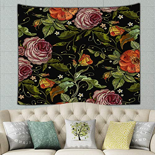 (wrtgerht Embroidery Beautiful red Roses Pink Peonies Apparel Design Beauty Fashion Hippie Tapestry Wall Art for Living Room Bedroom Dorm Decor 80ʺ × 60ʺ)