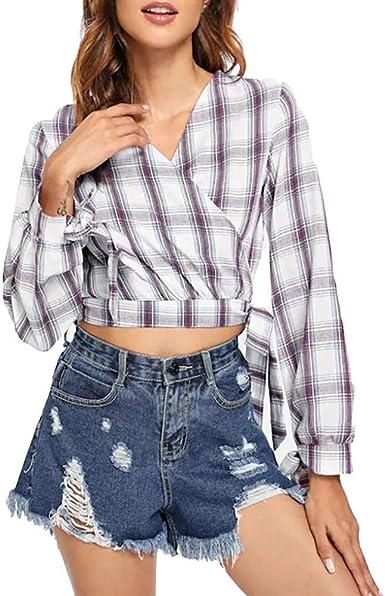 Qingsiy Camisas Mujer Blusa Suelta De Mujer Manga Larga Camiseta Cuadros De Tops Casuales Camisa del V-Cuello Top De La Moda Mujer De Camiseta Tops Mujer Verano: Amazon.es: Ropa y accesorios
