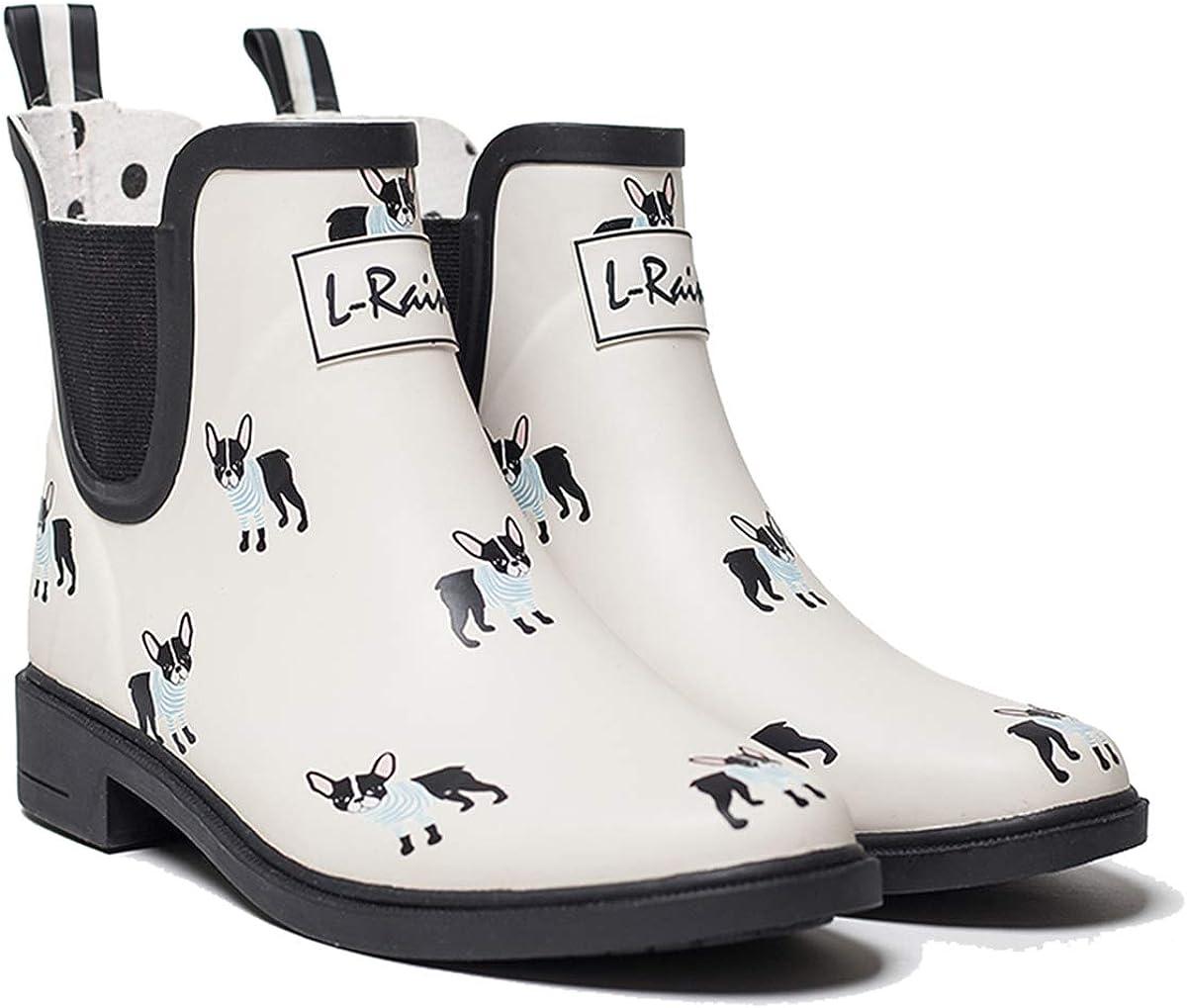 L-Rain LR Women/'s Short Rain Boots Waterproof and Anti-Slipping Rain Shoes Chelsea Booties