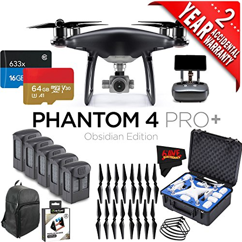 DJI Phantom 4 Pro+ Obsidian Edition Quadcopter + 5 Batteries + 16 Propellers Bundle with 2 Year Accidental Warranty Coverage