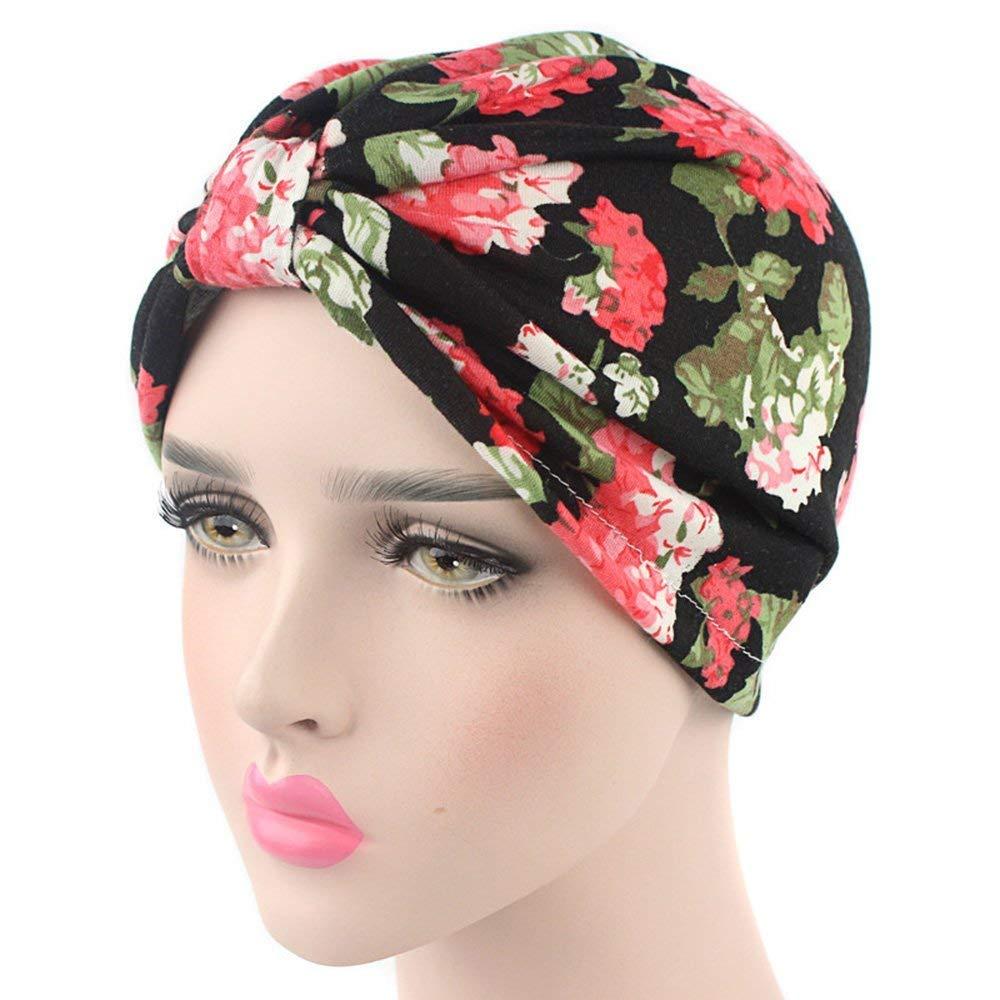 Cappuccio turbante da donna copricapo per tenere i capelli raccolti in cotone con stampa floreale Ever Fairy