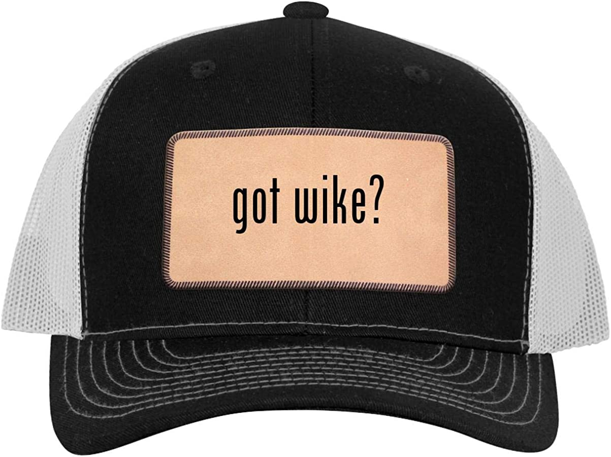 One Legging it Around got Wike? Leather Light Brown Patch Engraved Trucker Hat