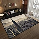 Rugs for Sale,NYC Decor,Aerial View of NYC in Winter Time American Architecture Historical Popular Metropolis Photo,Beige and Grey 71'x 106' Kitchen Mat