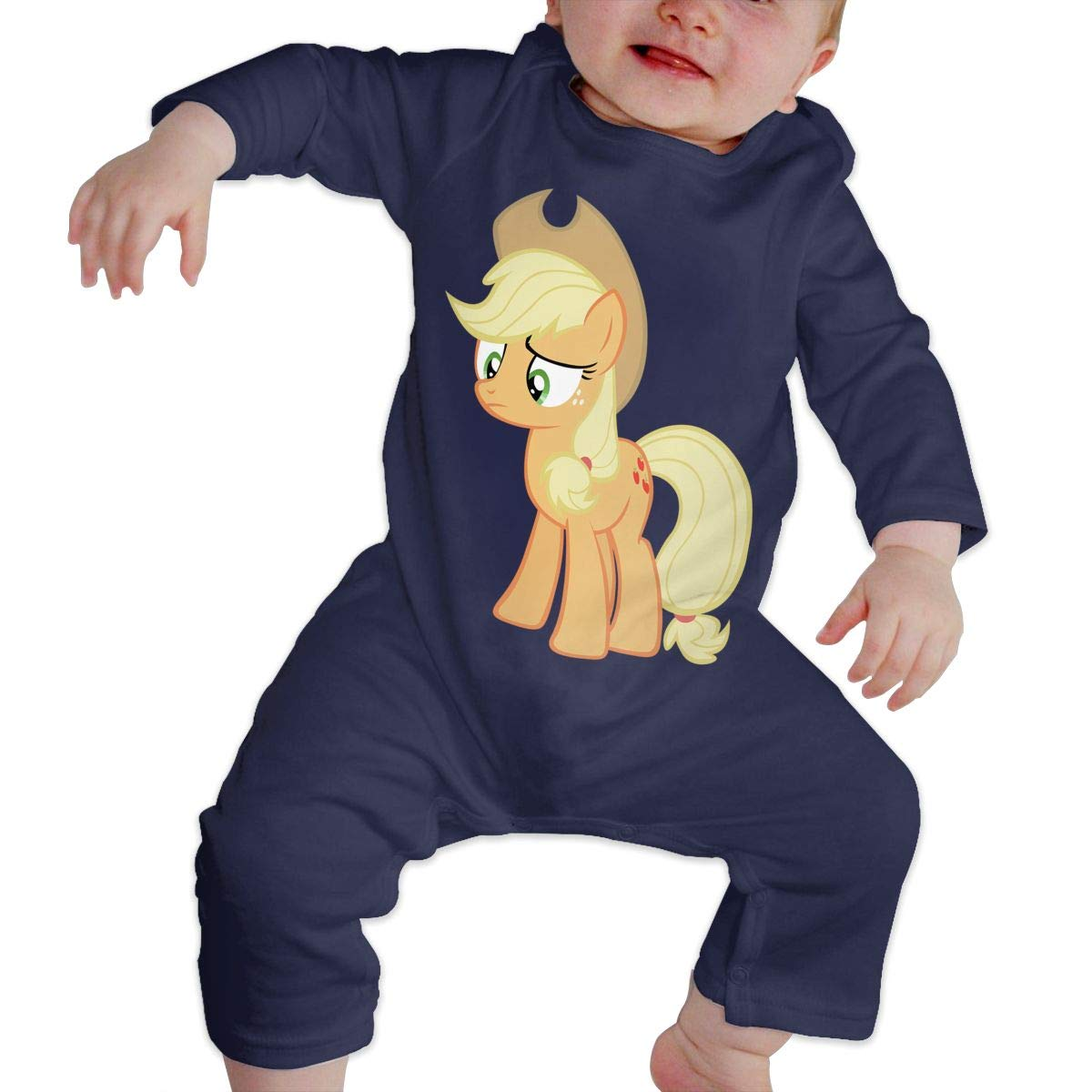 Baby Round Neck Long-Sleeve Pure Color Onesie Depressed Pony Jumpsuits Sleepwear