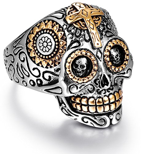 LAOYOU Sugar Skull Rings Gifts for Men Women, Mens Boy Stainless Steel Bikers Gothic Rings, Promise Wedding Engagement Anniversary Promise Couples Birthday Christmas Giving Gifts Present Size 15]()