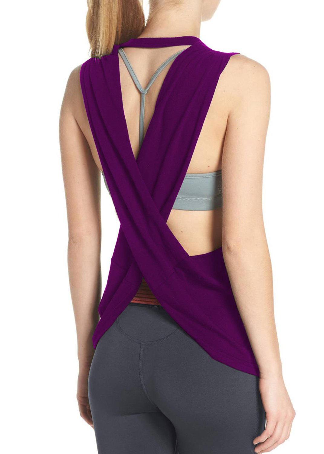 Fihapyli Women's Yoga Top Cross Back Workout Clothes Sleeveless Running Blouse Racerback Tank Tops Loose Fit Sports Active Tanks (Purple, S)