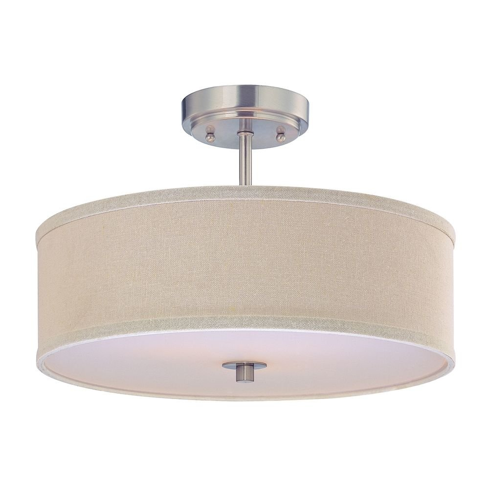 Semi flush light with cream drum shade 16 inches wide amazon aloadofball Choice Image