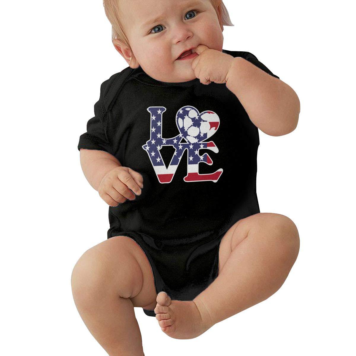 Newborn Baby Girl Boy Love Soccer USA Flag with Heart Bodysuit Romper Jumpsuit Short Sleeve Bodysuit Tops Clothes