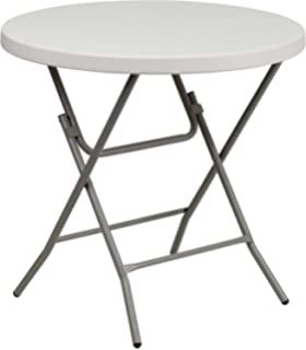 Delicieux Flash Furniture 32u0027u0027 Round Granite White Plastic Folding Table