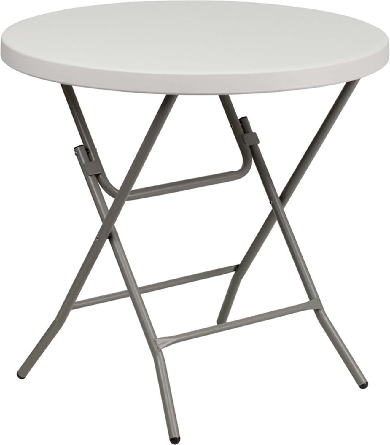 Flash Furniture RB-32R-GW-GG 32-Inch Round Granite White Plastic Folding Table