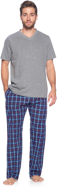 Ashford & Brooks Men's Sleepwear & Loungewear Pajamas Set | Woven Plaid PJ Pants & Short Sleeve Jersey Shirt