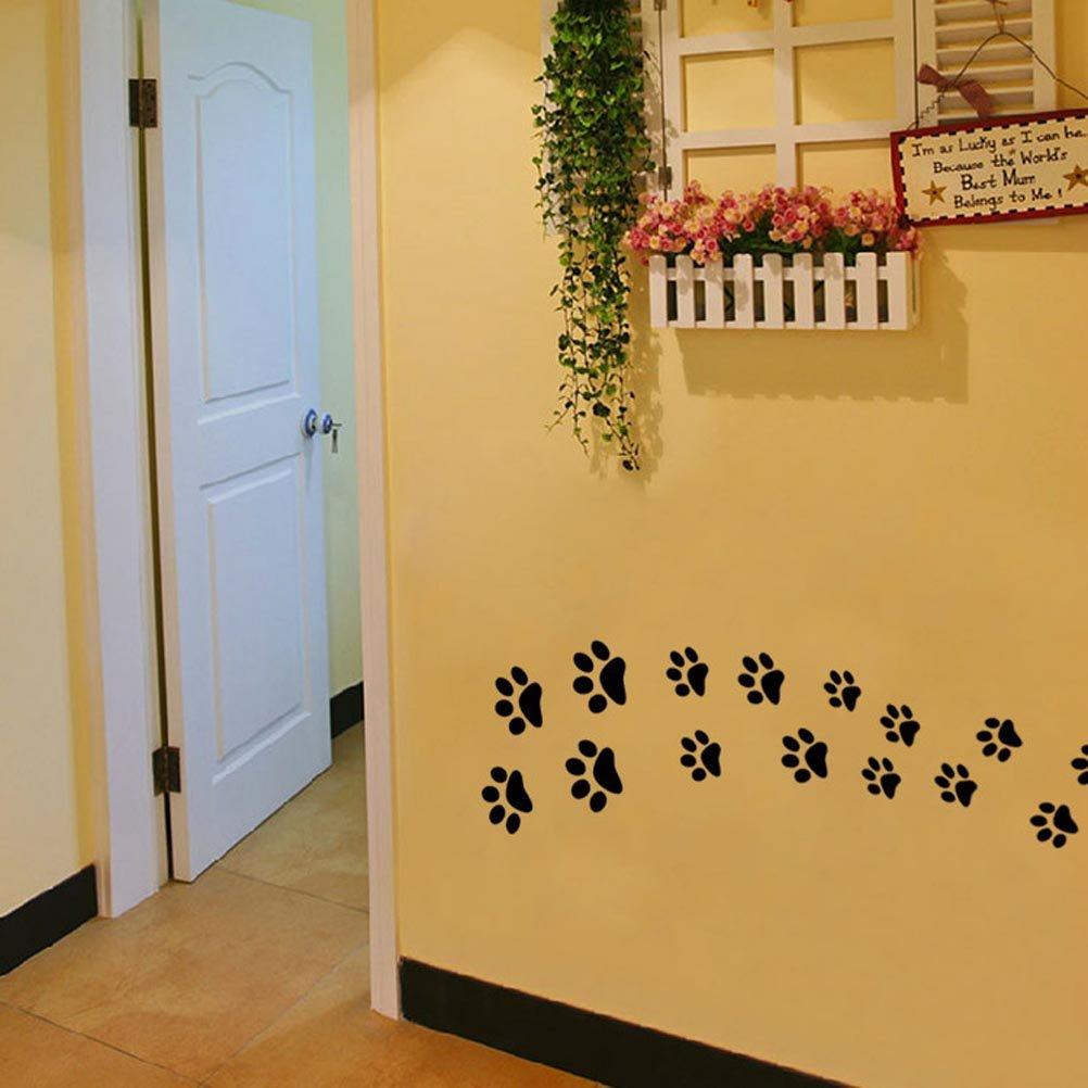 Amazon.com: BIBITIME Black Dog Paw Prints Wall Decal Nursery Bedroom ...