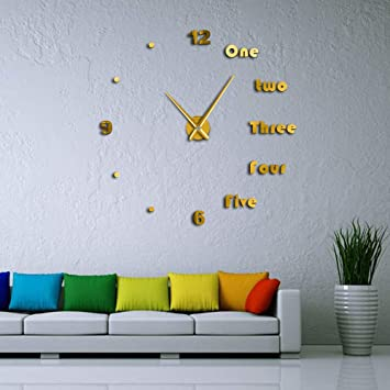 QUTICL Bricolaje Grandes Letras En Inglés Reloj De Pared Simple Y Moderno Sin Cerco Gigante DIY 3D Reloj De Pared Espejo -Oro-47Pulg.: Amazon.es: Hogar