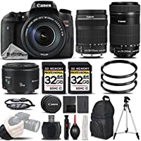 Canon Rebel T6s Camera + Canon EF-S 18-135mm f/3.5-5.6 IS STM Lens + Canon EF-S 55-250mm f/4-5.6 IS STM Lens + Canon EF 50mm f 1.8 II Lens - All Original Accessories Included - International Version