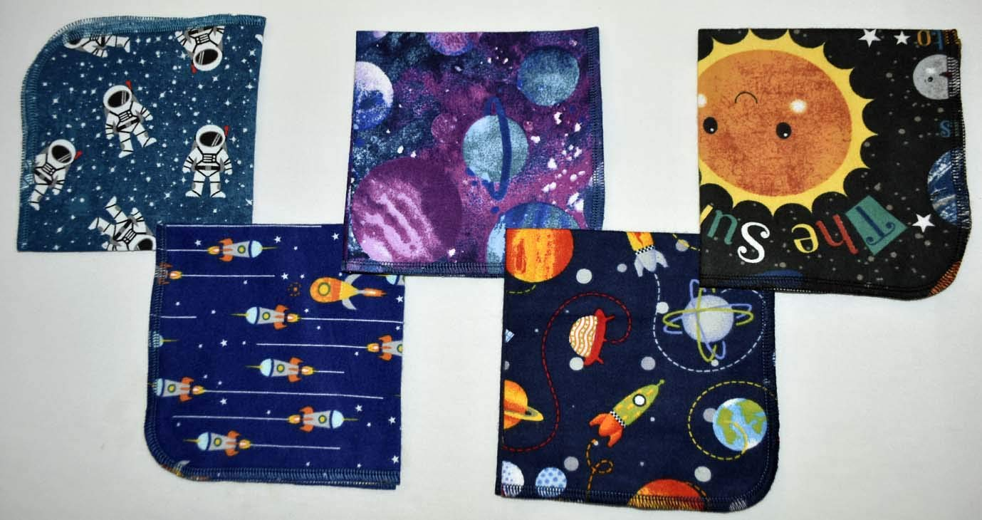 1 Ply Printed Flannel Washable. Out of This WORLD- Set Napkins 12x12 inches 5 Pack - Little Wipes (R) Flannel