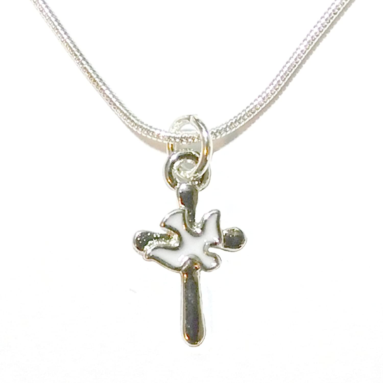 Charmed By Dragons Inspirational Cross Necklace with Dove Spirit Silver Chain In Gift Box