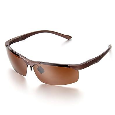 Aroncent Schutzbrille, Herren Polarisiert Mortorrad Sonnenbrille, Halbrahmen Sonnenbrille, Silber