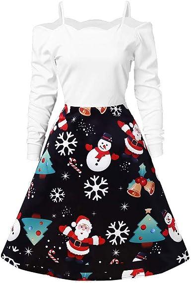 CLOOM Navidad Vestidos Hombros Descubiertos Sexy Patchwork ...