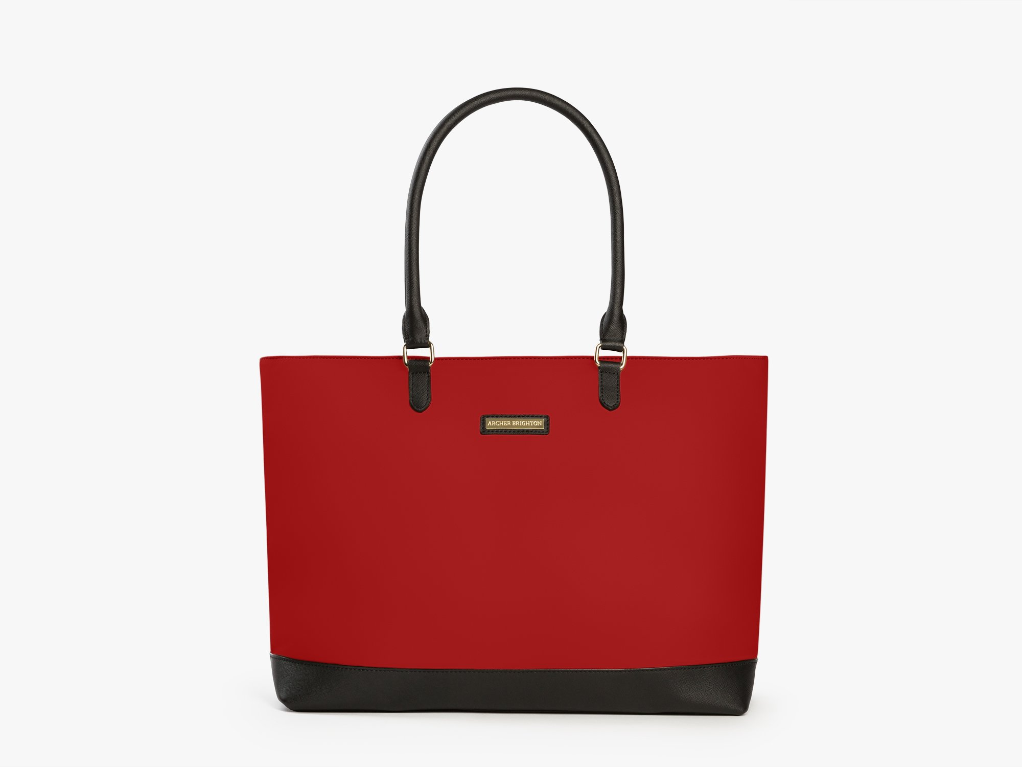 Archer Brighton Isabel Women's Laptop & Tablet Zip Tote, Women's 15.6 & 17 Inch Business Computer Briefcase Bag with Crossbody, Leather Canvas Organizer Handbag Purse for Work, Travel (Red)
