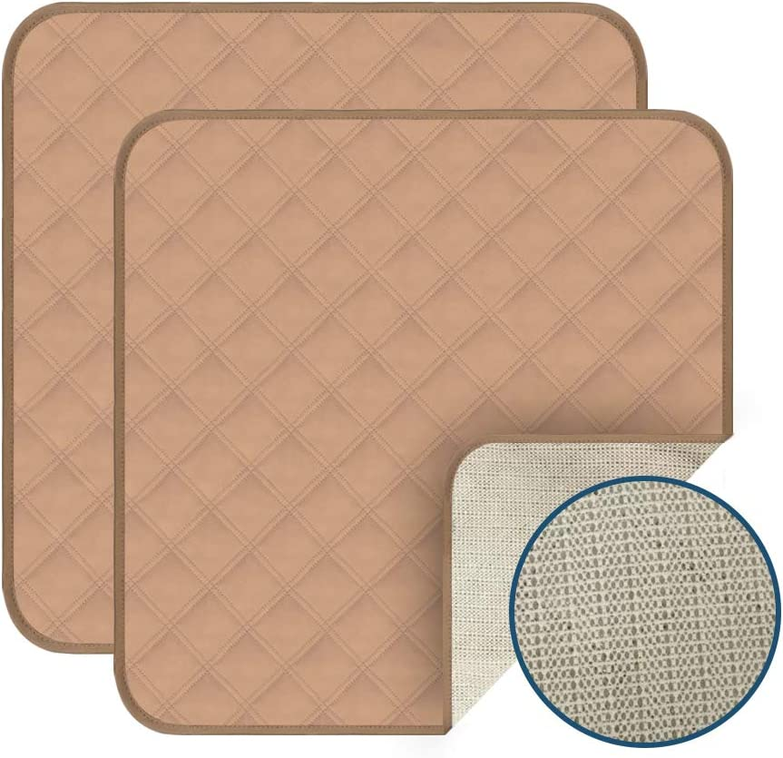 """Acutelien Waterproof Seat Protector Pads 2 Pack Incontinence Pad Machine Washable 4-Layer Innovative Design for wheelchairs, Furniture, car Airplane Train Seats 22""""X21"""" (Double Beige)"""