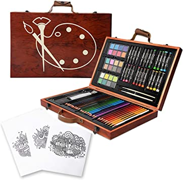 42PCs Deluxe Art Set Colored Pencils Crayons in Rose Case for Kids Adult