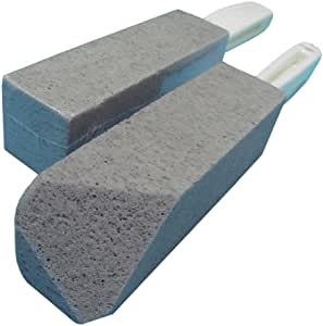 BATTLEHYMN Toilet Bowl Pumice Cleaning Stone with Handle Fine Grit Sturdy High Density Two Piece