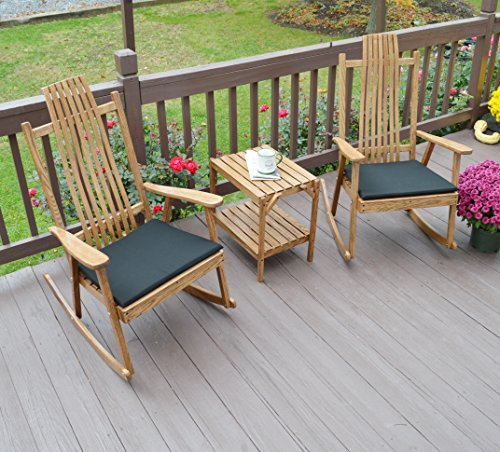 Rocker Cypress - FRONT PORCH ROCKING CHAIR SET WITH SIDE TABLE, 2 Wood Rocker Chairs for Indoor And Outdoor Covered Patio Porches, Hand Bent Wood Amish Furniture Pair Sets for Rustic And Contemporary Homes
