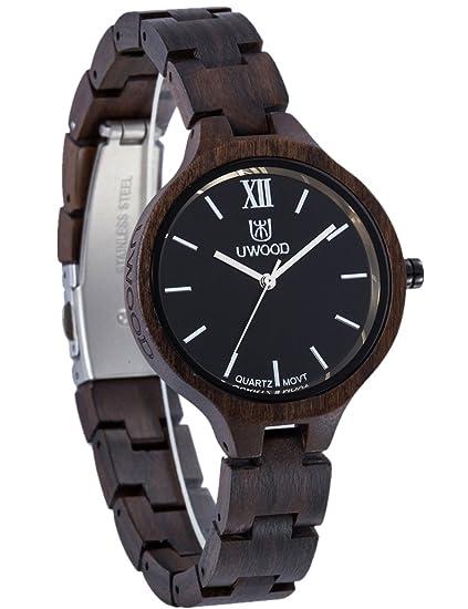Reloj Mujer De Madera Elegante Y Ligera Mujer Reloj Negro Bonito Reloj De Pulsera Madera