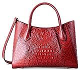 PIFUREN Women Top Handle Satchel Handbags Crocodile Leather Tote Bag C69678( Red)