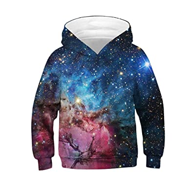 SamMoSon 2019 Unisex Baby Clothes Teen Kids Girl Boy Galaxy Fleece Print Cartoon Sweatshirt Pocket Pullover
