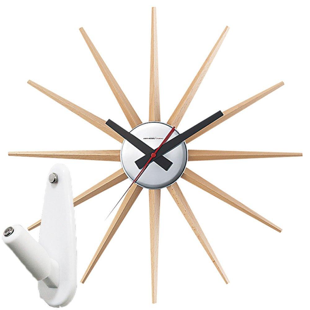 アートワークスタジオ Atras2-clock + 壁の穴が目立ちにくい時計用壁掛けフック 2点セット 掛け時計 掛時計 壁掛け時計 壁掛時計 フック おしゃれ アトラス2 ARTWORK STUDIO (ナチュラル) B0763L3148 ナチュラル ナチュラル