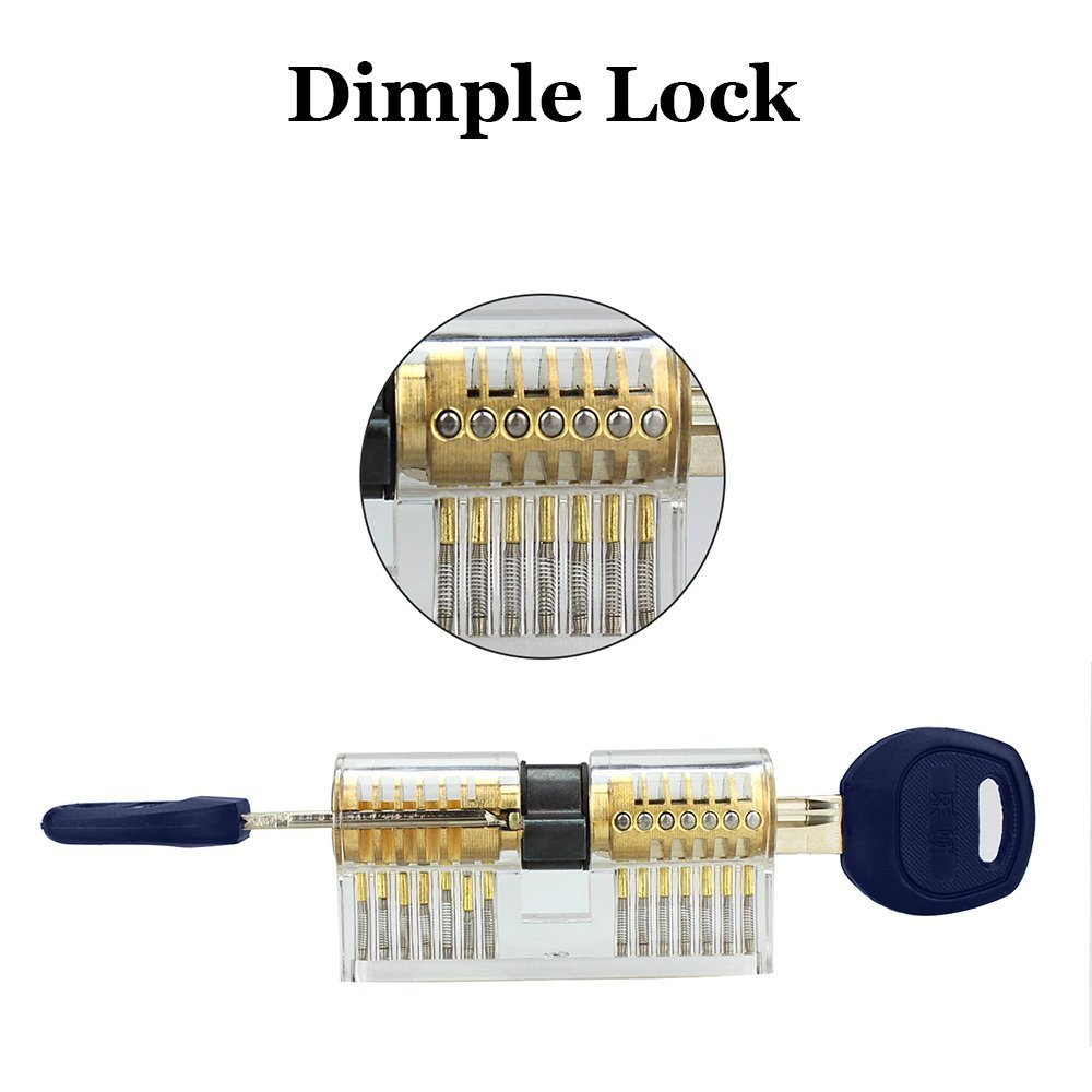Xinrui 2 in 1 Practice Lock Set, Transparent Cutaway Practice Tools for Locksmith