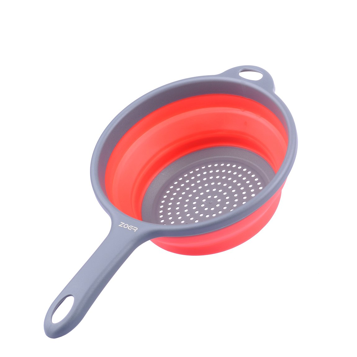 ZOER Kitchen Foldable Silicone Strainers,Collapsible Colanders with Handles,Space-Saver Folding Strainers Colander,Capacity of 2 quart (Red)