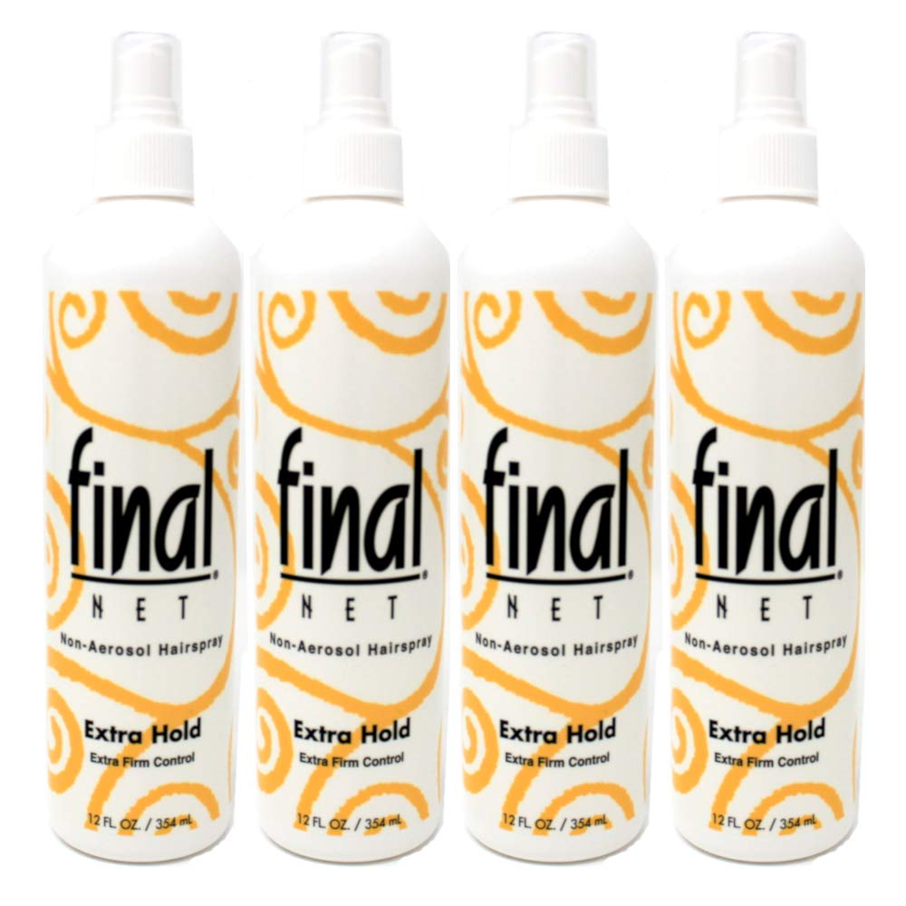 Final Net Hairspray Non-Aerosol Extra Hold Unscented - 12 oz, Pack of 4 IDELLE LABS LTD