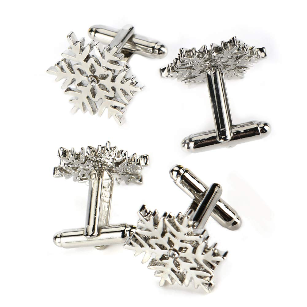 Bosiwee 2 Pairs Christmas Snowflake Cufflinks for Men, Cuff Links Set Mens Tuxedo Shrit Wedding Accessories for Men