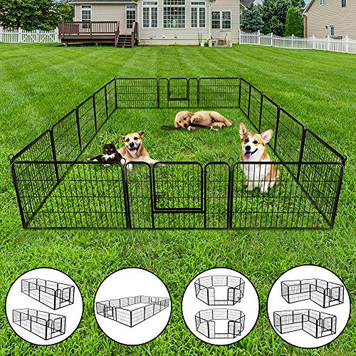 """Nova Microdermabrasion Dog Pen Pet Playpen Kennel Fence Outdoor Indoor Play Yard Puppy Exercise Barrier 31"""" W x 24"""" H – 16 Panels"""