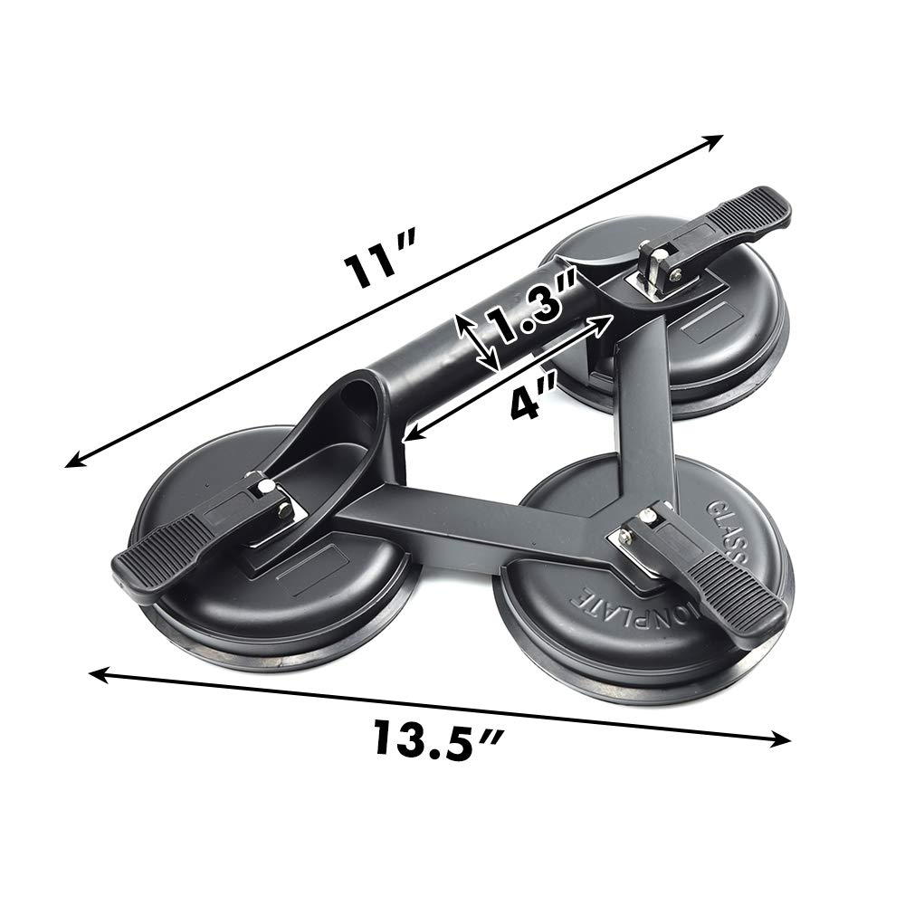 3 in 1 Heavy Duty Suction Cups Lifter,Aluminum Handles Lifting Sucker,Professional Glass Puller//Lifter//Gripper,Black