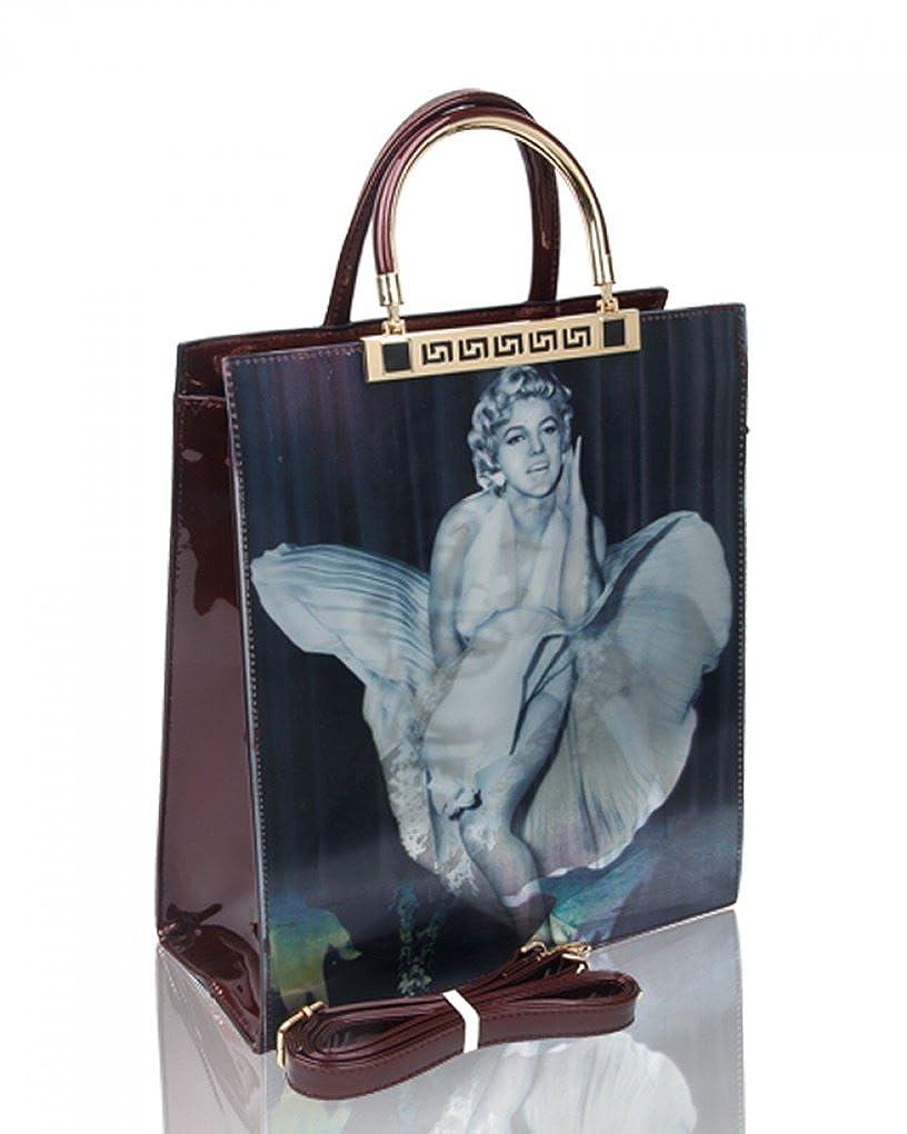 New Women/'s Elvis 3D Effect Top-Handle Handbag//Ladies Girls Fashion Patent Bag