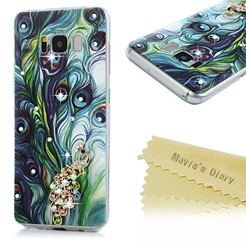 S8 Case,Mavis's Diary Luxury 3D Handmade Bling Sparkle Crystal Rhinestone Diamonds Painted Blue Peacock Feathers Fashion Design Full Edge Protection C…